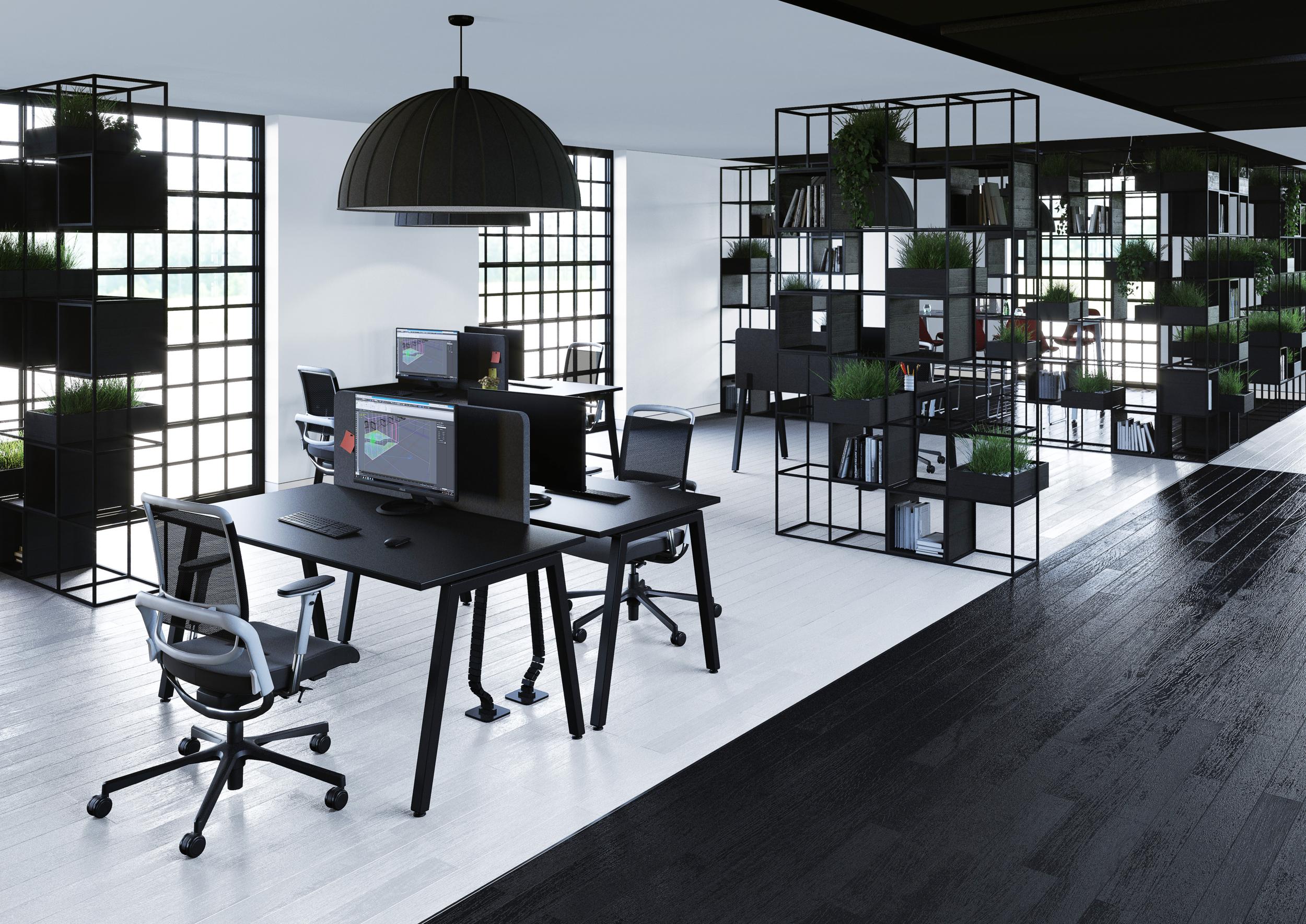 """Bureau Noir Et Blanc bureau individuel """"cs-a"""""""