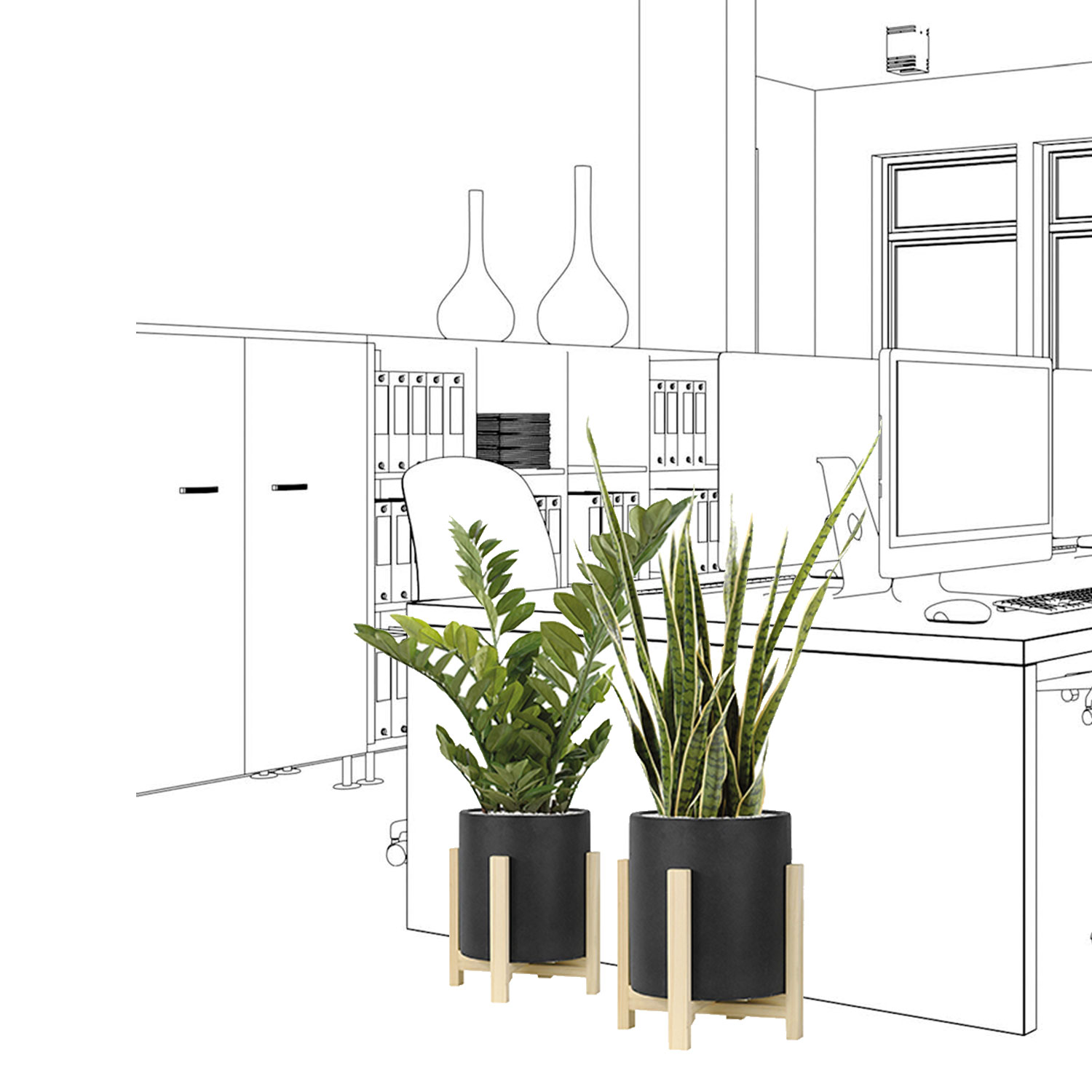 Set de 2 plantes avec pot design ciment noir