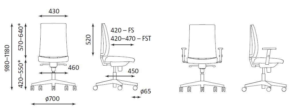 chaise de bureau dimension