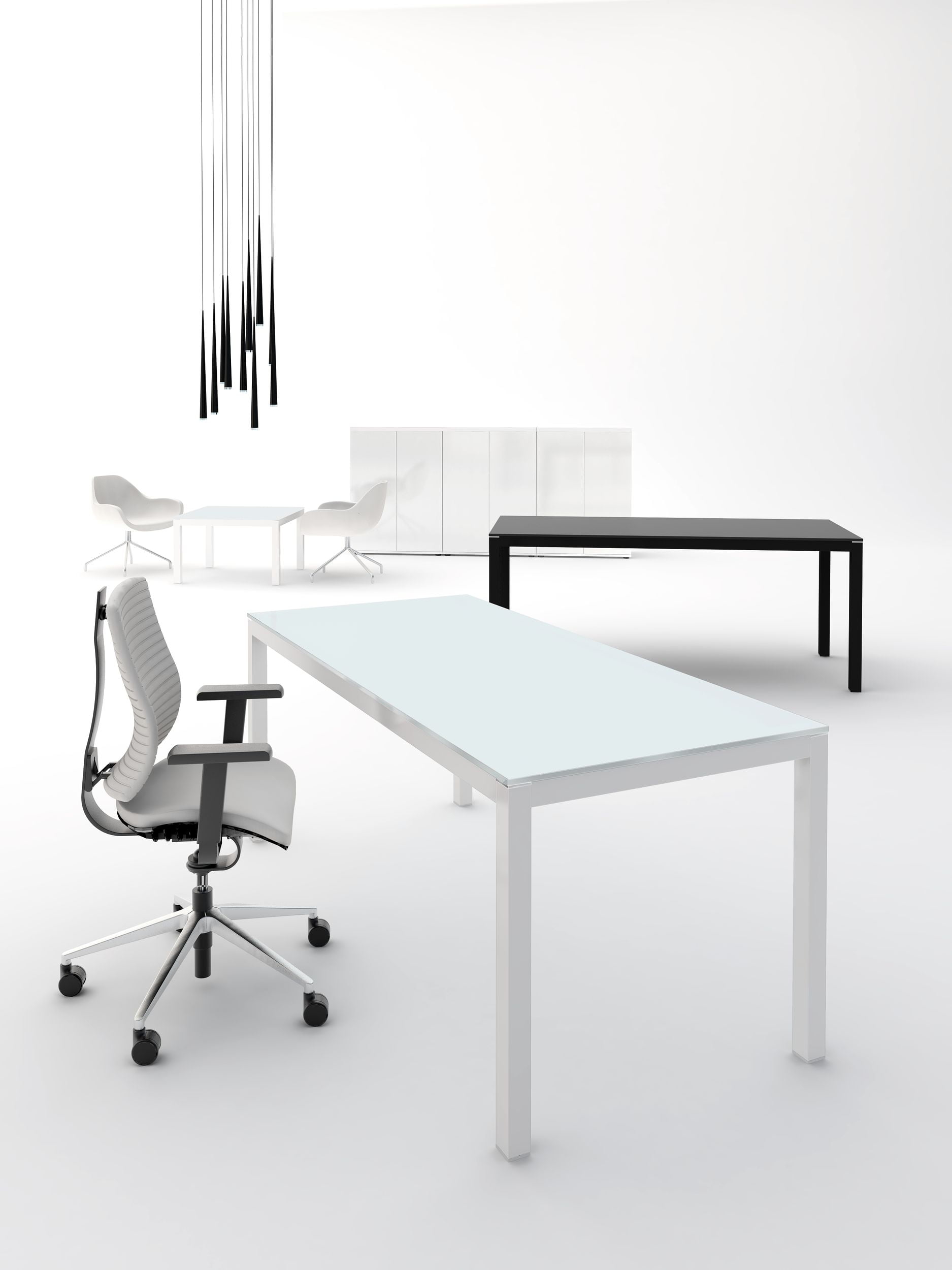 Bureau de direction en verre blanc ou noir