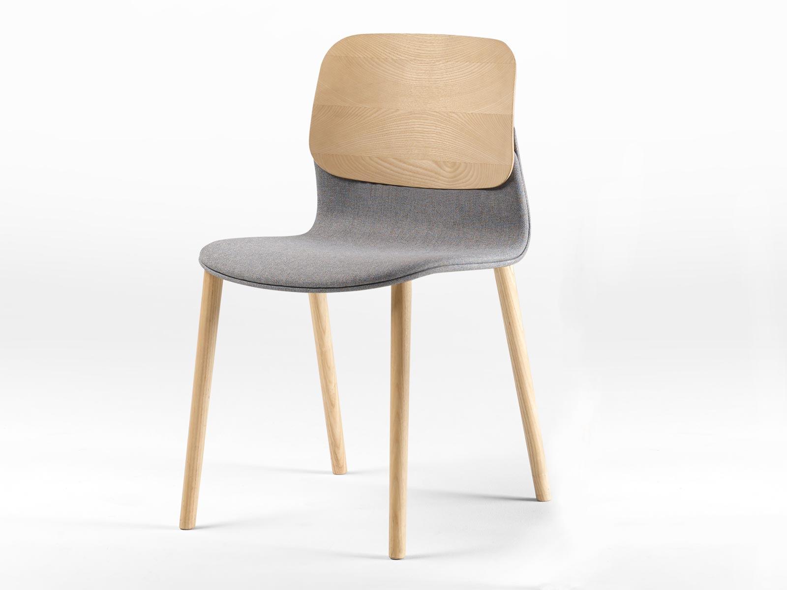 Chaise en bois tapissée Klik (lot de 2 ou 3 chaises)