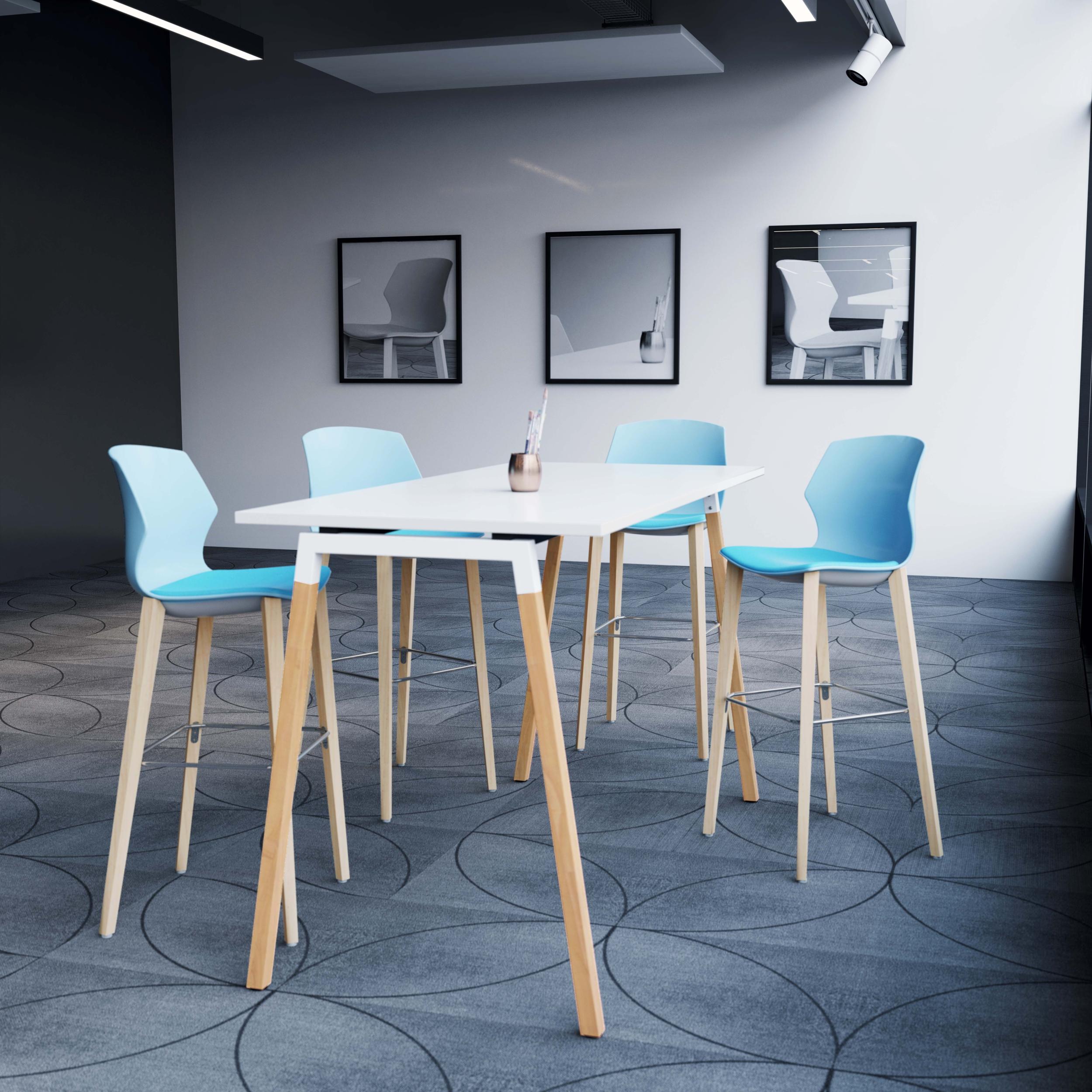 Table haute piétement A en bois Cinetic