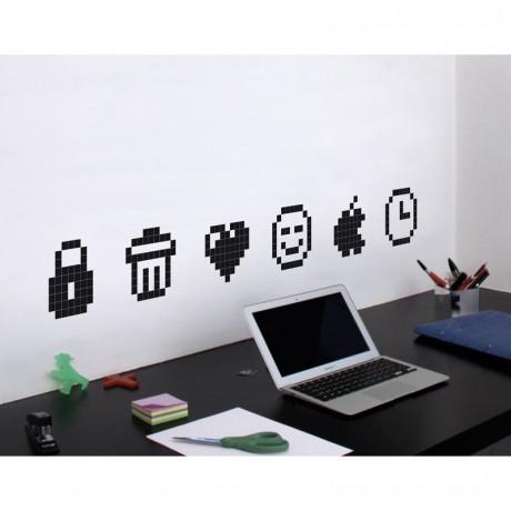 stickers ic nes lot de 8 pour bureau. Black Bedroom Furniture Sets. Home Design Ideas