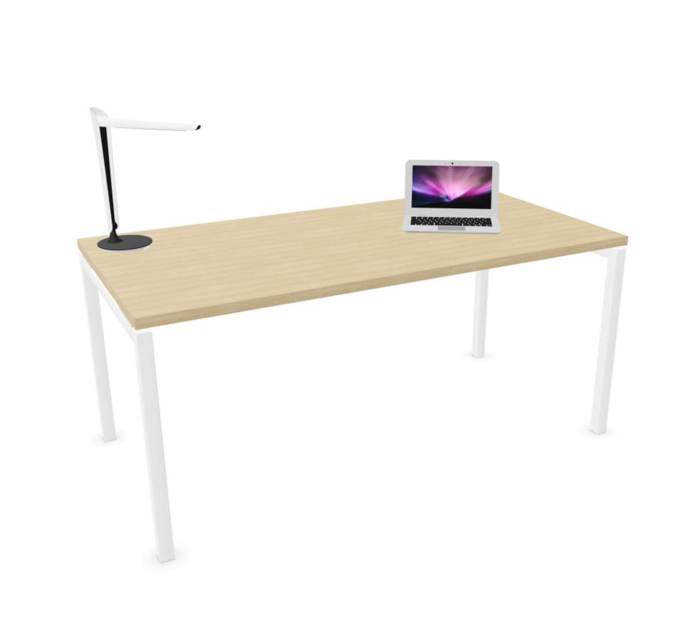 bureau individuel pied blanc plateau chêne 2
