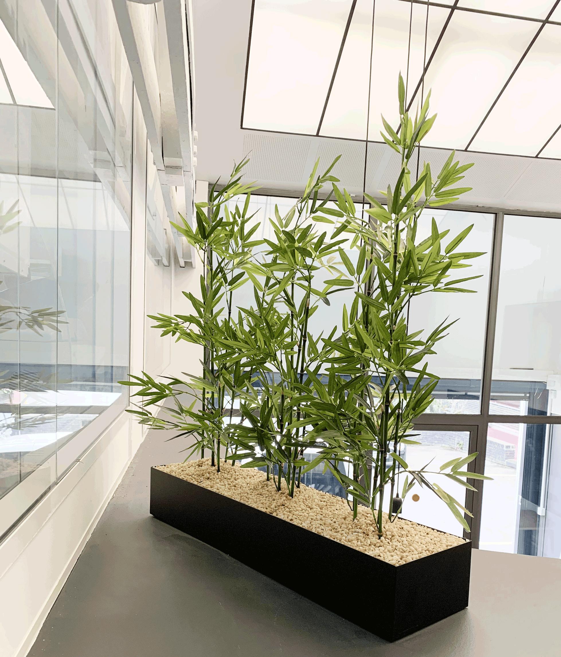 Jardinière basse bambous artificiels
