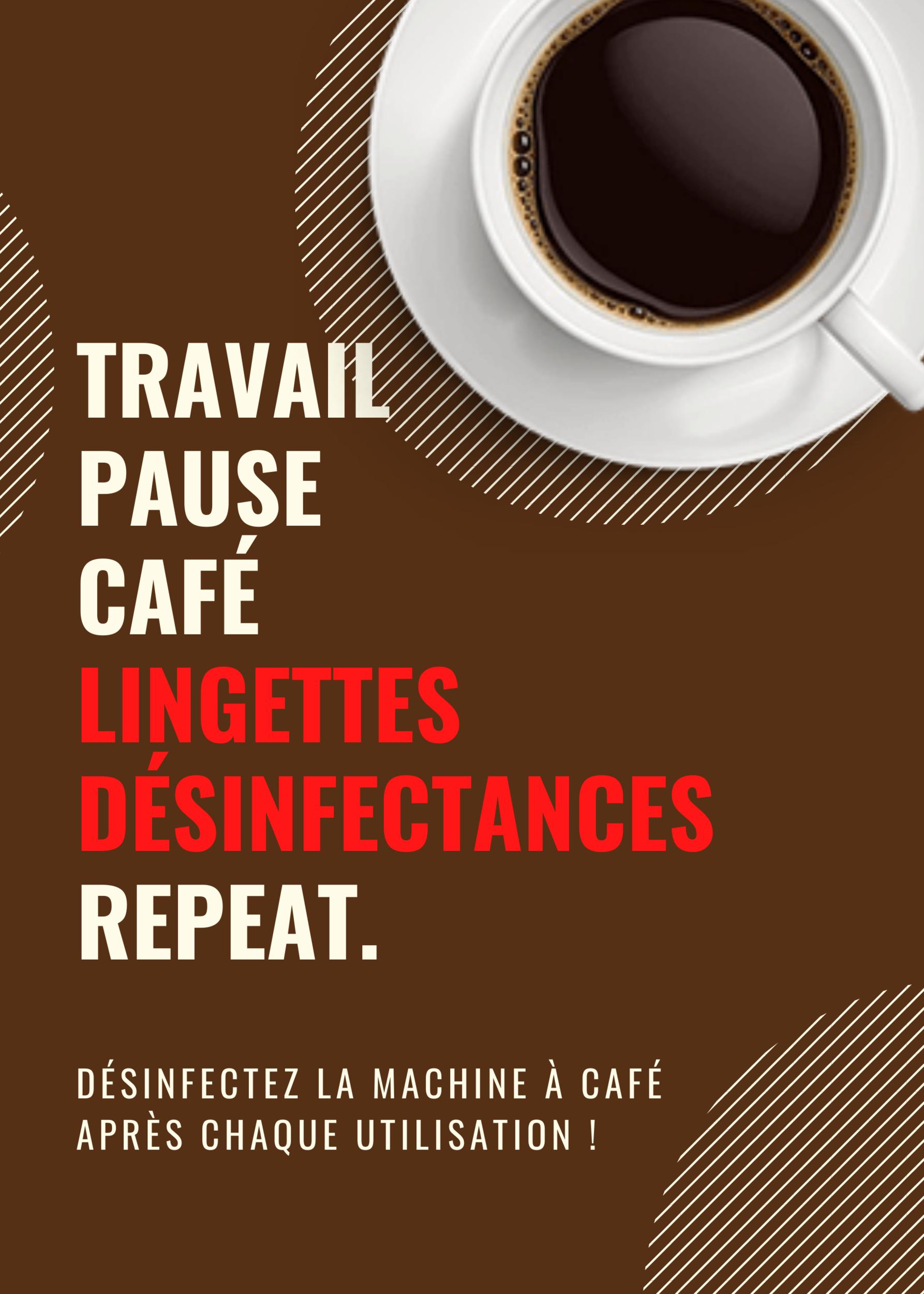 Affiche prévention Travail, pause, café