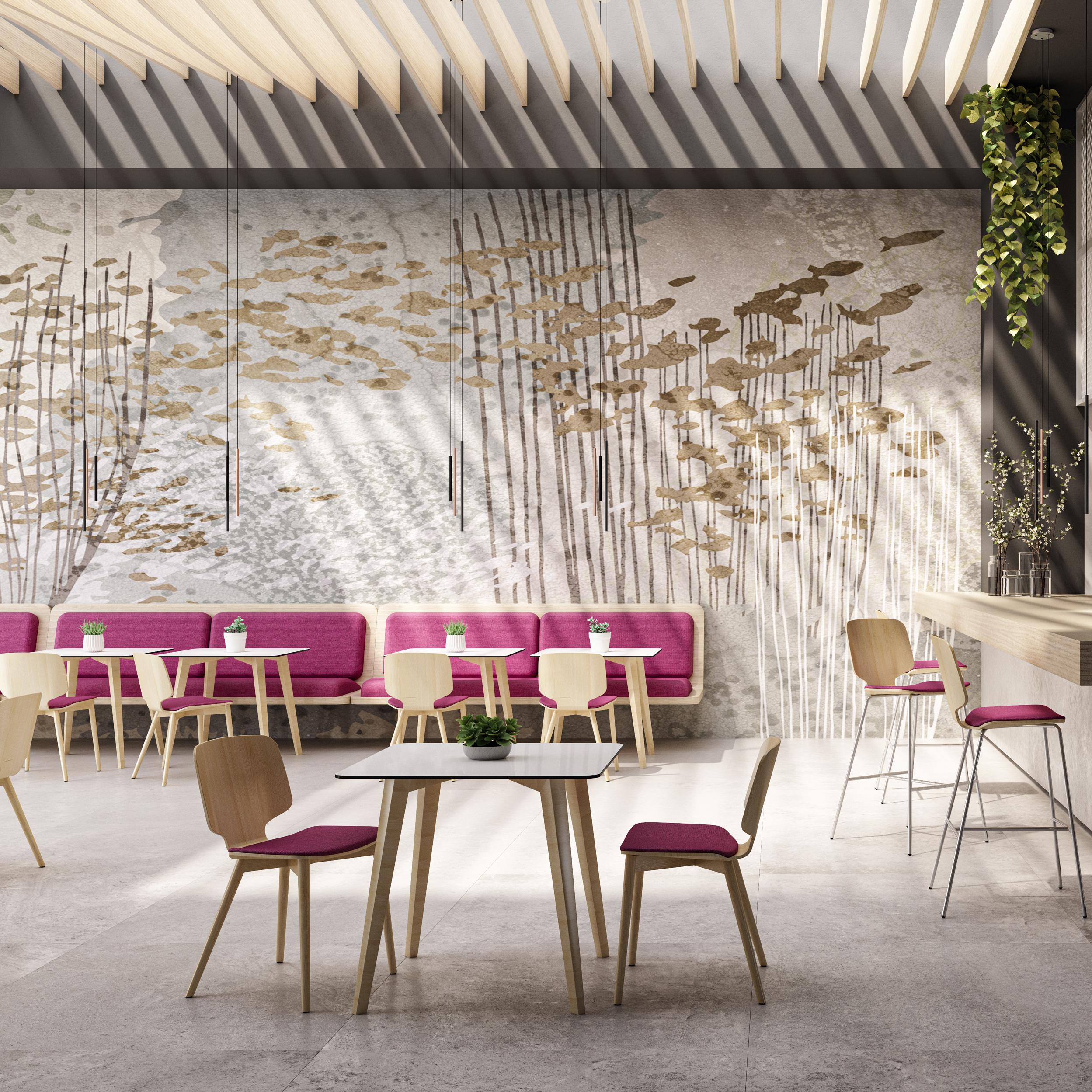 Chaise-en-bois-cafétéria-design-scandinave
