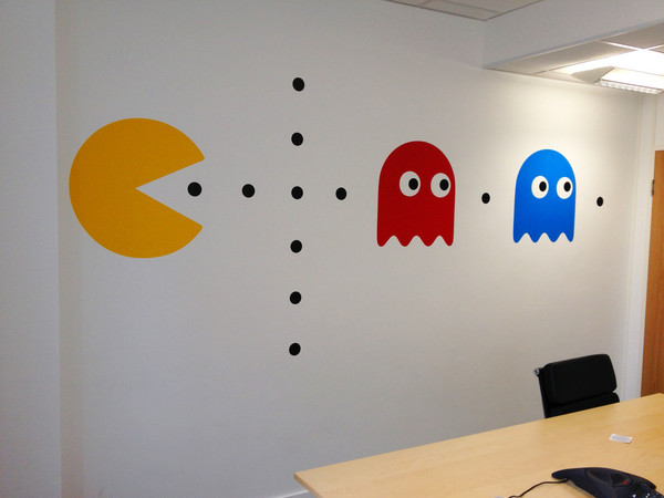 Autocollant mural r tro pac man for Auto collant mural