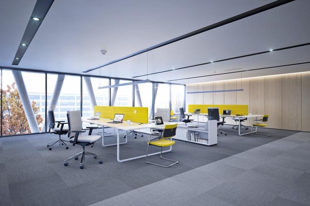 Bureau bench design pour openspace 2 postes for Bureau 4 places