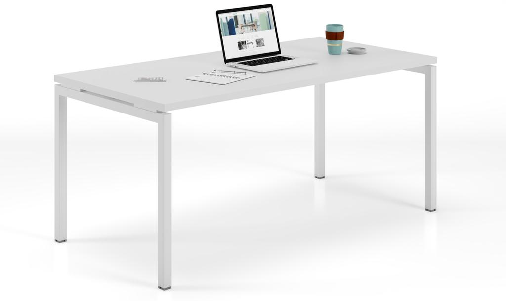 bureau individuel start-up plateau blanc piétement blanc