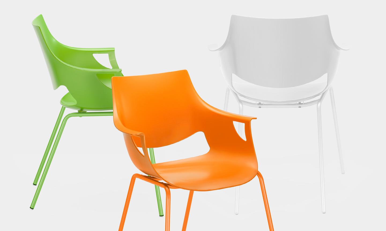 chaise de r union empilable et design orange vert blanc. Black Bedroom Furniture Sets. Home Design Ideas