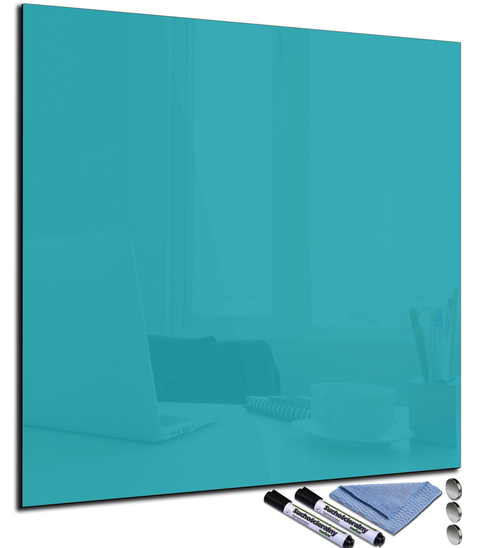 tableau magn tique turquoise en verre effa able. Black Bedroom Furniture Sets. Home Design Ideas
