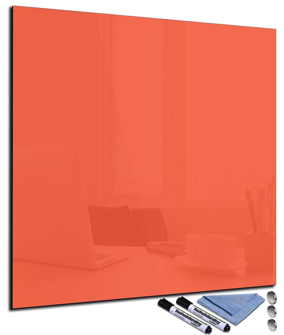 tableau magn tique orange en verre effa able. Black Bedroom Furniture Sets. Home Design Ideas