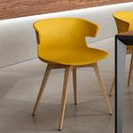 chaise jaune piétement bois