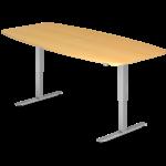 Table de réunion réglable en hauteur teinte érable