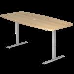Table de réunion réglable en hauteur teinte chêne