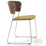 chaise-design-en-bois-tapissé-jaune-ocre
