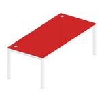 bureau design en verre rouge 3D
