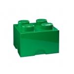Lot de 6 boites de rangement Lego verte 4 plots