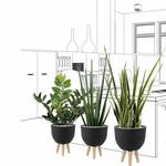 Set de 3 plantes artificielles et pot design noir