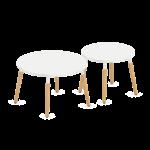 table ronde pour cafétéria pieds bois plateau mélaminé