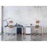 bureau individuel pieds bois plateau blanc et noir