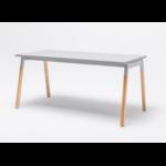 bureau individuel pieds bois plateau blanc