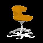 chaise de réunion jaune à roulettes
