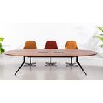 table de réunion ovale pieds discret métal avec top access