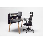bureau individuel pieds bois plateau noir