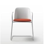 Chaise polypropylène blanche avec assise tapissée