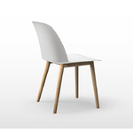 chaise polyvalente blanche avec un piétement en bois