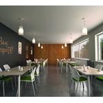 chaise cafétéria split blanche tapissée avec accoudoirs