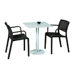 table carrée cafétéria pied et plateau blanc