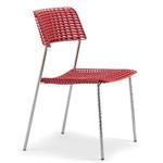 Chaise de réunion ou cafétéria chrome et rouge