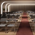 Chaise de conférence CELL design piétement luge chromé