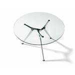 Table ronde en verre avec piétement en aluminium