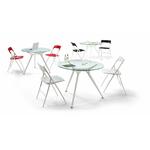 table de cafétéria en verre avec un piétement en aluminum design