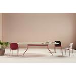 table de réunion ovale design piétement rose plateau mélaminé