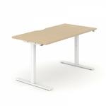bureau assis debout réglable en hauteur avec découpe demi lune