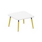 table basse carrée 80x80 blanc et pied jaune