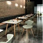 table cafétéria carrée pied bois cove