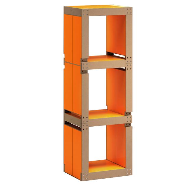 Etag re de bureau design orange structure noire ou bois for Etagere bureau professionnel