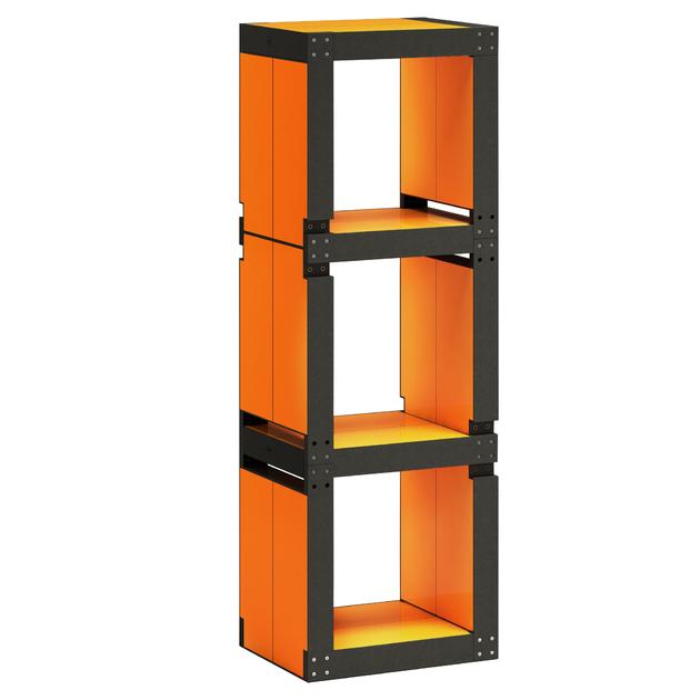 etag re de bureau design orange structure noire ou bois. Black Bedroom Furniture Sets. Home Design Ideas