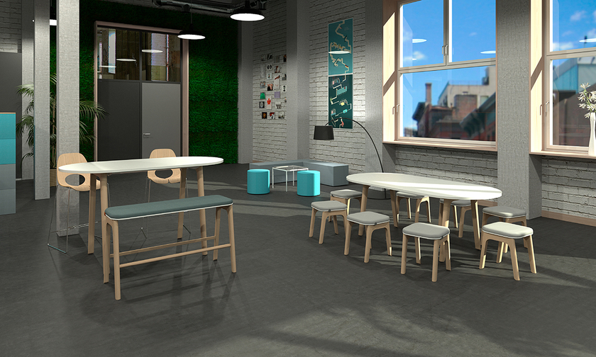 Table haute style scandinave rectangulaire ou ovale pour bureaux