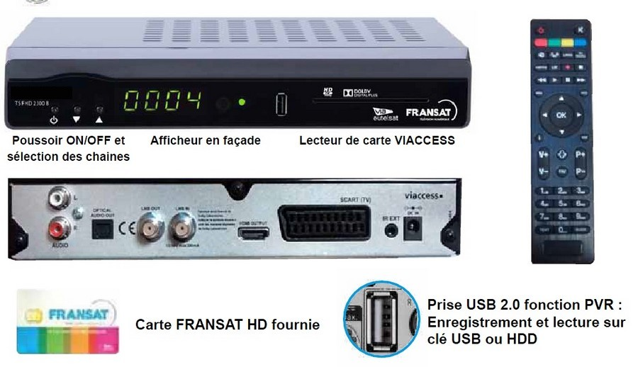 r cepteur fransat hd avec carte vie d codeurs satellite. Black Bedroom Furniture Sets. Home Design Ideas