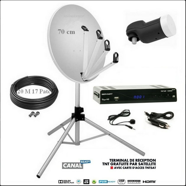 Ensemble tntsat plus parabole 70 cm alu et d codeur hd - Decodeur satellite astra sans abonnement ...