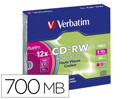 CD-RW BOITIER SLIM VITESSE 12X PACK DE 5