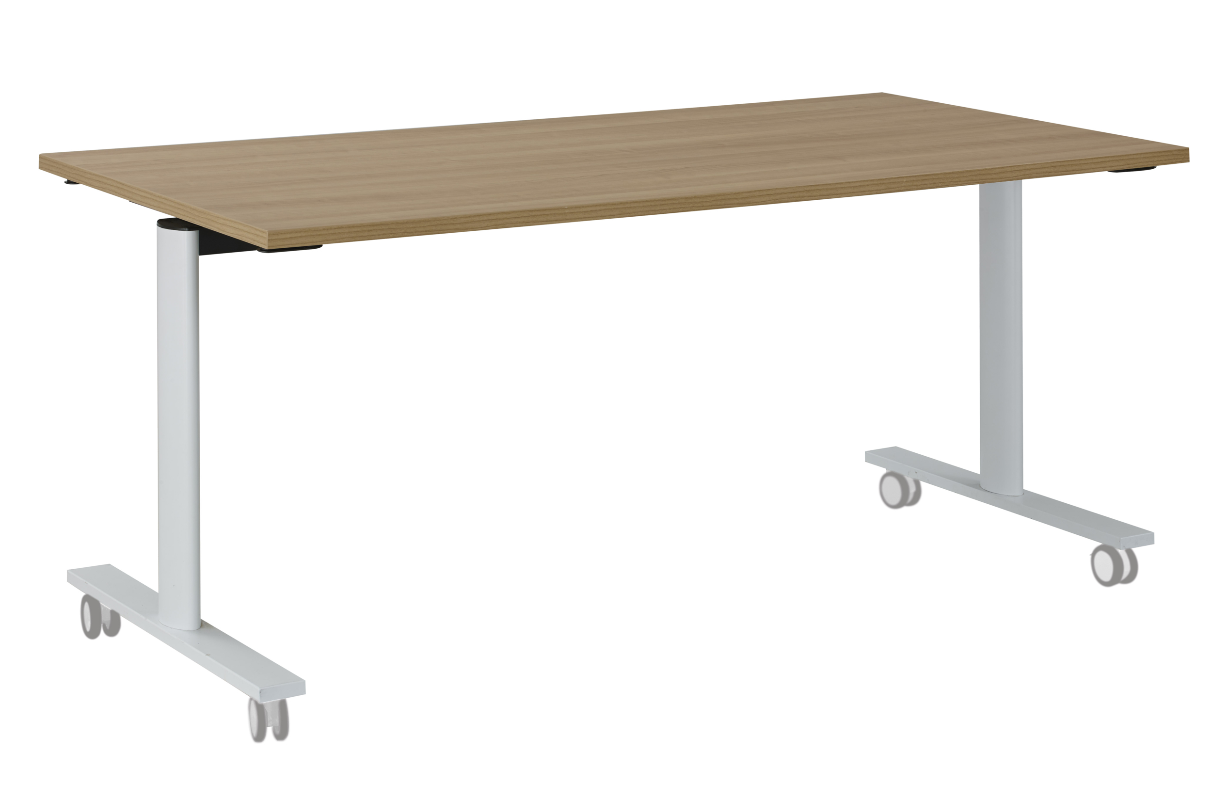 YES MERISIER PIEDS BLANC TABLE MOBILE ET RABATTABLE 160CM