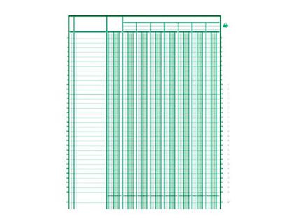 REGISTRE COMPTABLE 6 COLONNES SUR 1 PAGE 32x19.5cm